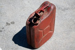 old empty gasoline canister closeup
