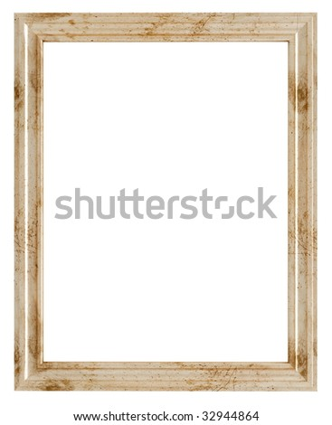 old empty picture frame isolated on white -rendering