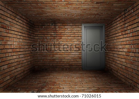 Old empty room with red brick wall texture
