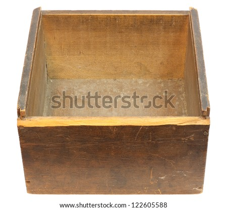 Old empty wooden box - isolated on white with clipping path