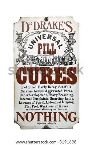 Old enamel sign for Dr Drake's pills, isolated on white.
