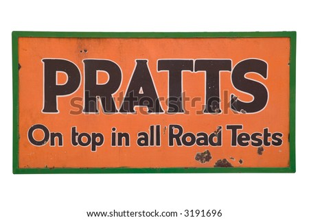 Old enamel sign for Pratt's tobacco, isolated on white.