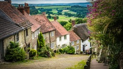 Old English limestone houses with thatched roofs with green fields countryside in the background. Gold Hill houses on a cloudy day behind flowers in Shaftesbury, Dorset, UK. Photo with selective focus