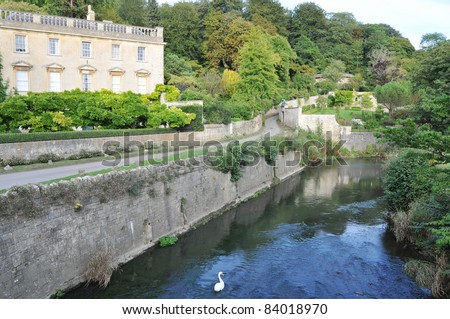 Old English Manor House on the River Frome in on the Wiltshire Somerset Border in England