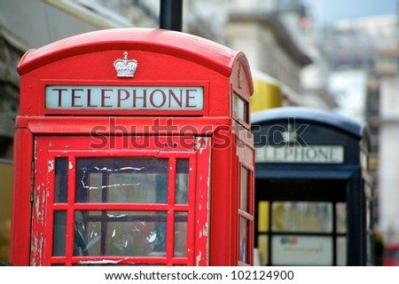 Old English Phone Boxes. London