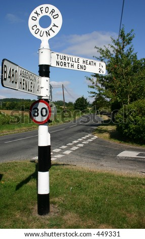 old English Road Sign