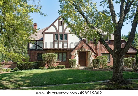Old English Tudor Home in Trees & Old English Tudor Home in Trees | EZ Canvas