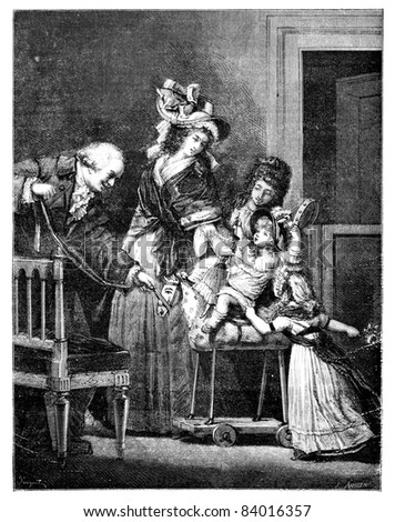 Old engraved illustration of The Happy Family drawing by Pauquet, based on Philibert-Louis Debucourt, 1874. Drawing of two woman, a man and two children playing on a horse. Le Magasin Pittoresque 1874