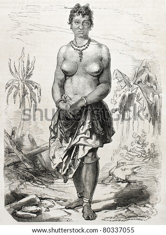 Old engraved portrait of a girl in Grand-Bassam, Cote d'Ivoire. Created by Worms, published on L'Illustration Journal Universel, Paris, 1857