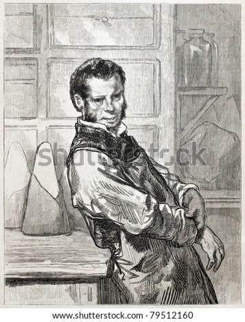 Old engraved portrait of a grocer. Created by Gavarni.  published on L'Illustration Journal Universel, Paris, 1857