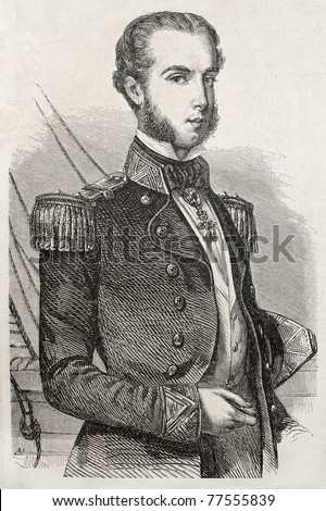 Old engraved portrait of Archduke Ferdinand Maximilian of Austria, then Emperor of Mexico. Created ny Schubert, published un L'Illustration Journal Universel, Paris, 1857 Stock fotó ©
