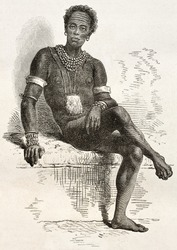 Old engraved portrait of Joctian, native African, leader of Nouers tribe ( lake Victoria area). Created by Neuville, published on Le Tour du Monde, Paris, 1867