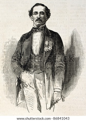 Old engraved portrait of Nassir Mallouf, dragoman and orientalist. Created by Bayard, published on L'Illustration, Journal Universel, Paris, 1860
