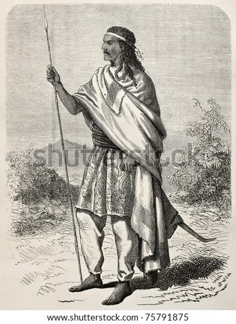 Old engraved portrait of Tewodros II, Abyssinian emperor. Created by Janet-Lange and Huyon, published on Le Tour du Monde, Paris, 1864
