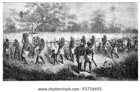 Old engraving of Group of slaves. Created by Neuville, published on Travel to upper reaches of the Nile and exploration of its sources by Sir Samuel White Baker (British explorer), Moscow, 1868