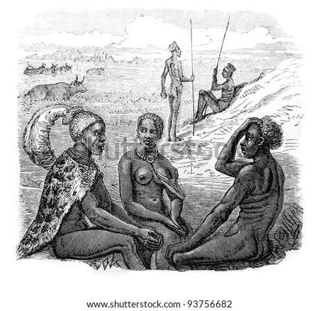 Old engraving of tribal chief and his daughter. Created by Neuville, published on Travel to upper Nile and exploration of its sources by Sir Samuel White Baker (British explorer), Moscow, 1868
