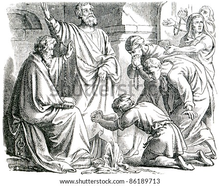 Old engraving. Saint Peter and Saint Paul in Mamertine Prison. The book \