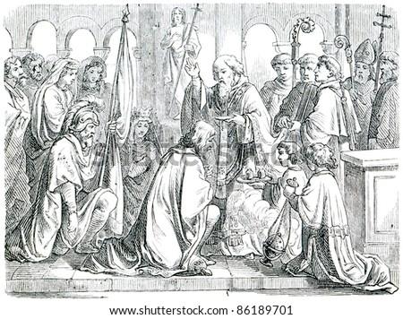 Old engraving. Saint Remigius baptizes Clovis I. The book \