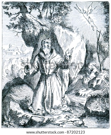 Old engravings. Depicts Saint Francis of Assisi. The book
