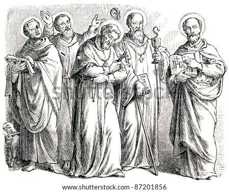 "Old engravings. Depicts St. Dominic, St. Alphonsus Maria de Liguori, St. Benedict of Nursia, St. Francis of Assisi, St. Ignatius of Antioch. The book ""History of the Church"", circa 1880"