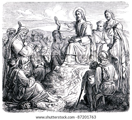 "Old engravings. Jesus says to the Mount of Olives sermon. The book ""History of the Church"", circa 1880"