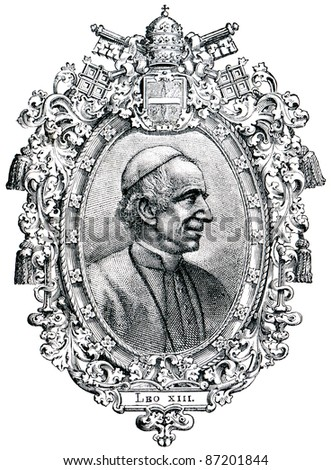 "Old engravings. Shows Pope Leo XIII. The book ""History of the Church"", circa 1880"