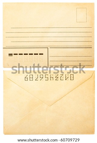 old envelope front and back isolated on white