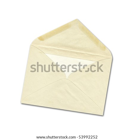 Old envelope with letter inside isolate in white