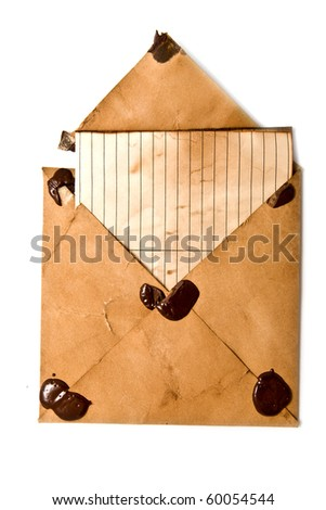 old envelopes and paper on a white background
