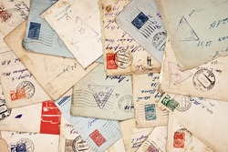 old envelopes as a background