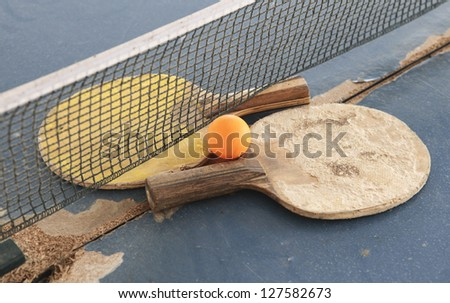 Old Equipment for table tennis - racket, ball, table