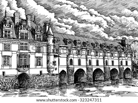 Old European castle Chenonceau, France. Black and white dashed style sketch, line art, drawing with pen and ink. Retro vintage picture.