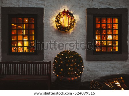 Old european house decorated for Christmas.
