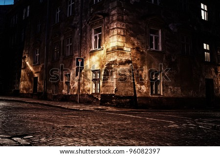 old european town at night