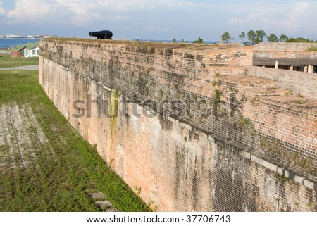 Old exterior wall of Fort Pickens, a civil war era defensive fortification located on Santa Rosa Island, Florida.