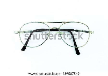 55e169f6f38c Old vintage eyeglasses on white background