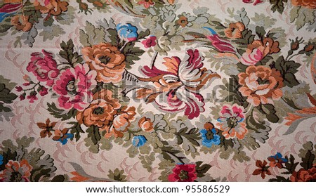 Old fabric floral - stock photo
