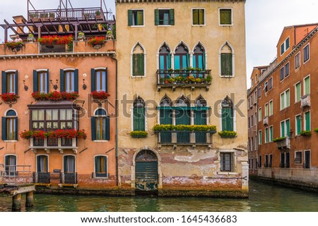 Old facades of buildings in Venice view from Grand Canal