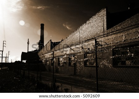old factory and warehouse in black and white