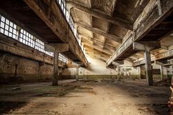 Old factory buildings, spacious workshop