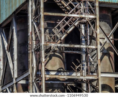 Old factory closeup. Fragment. Industrial background. Metalware. Stairs                                #1106949530