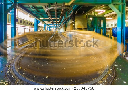 Old factory for the production of car seats. Conveyor for produce car seats motion in process