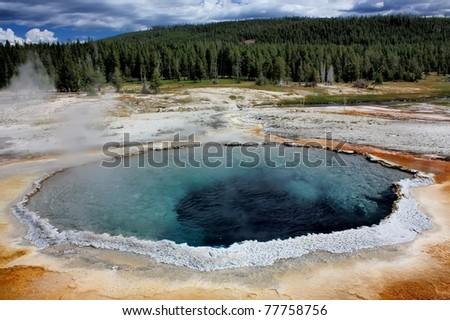 old faithful geyser basin, yellowstone national park, wyoming