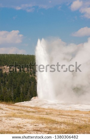 old faithful Geyser in old faithful Basin in Yellowstone National Park in Wyoming #1380306482