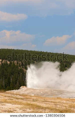old faithful Geyser in old faithful Basin in Yellowstone National Park in Wyoming #1380306506