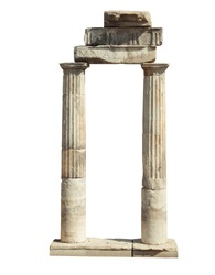 Old famous ruins in Hierapolis isolated on white background