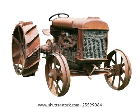 old farm tractor with clipping path