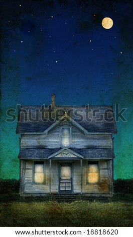 Old farmhouse with a full moon on a grunge background. Copy-space for text. - stock photo