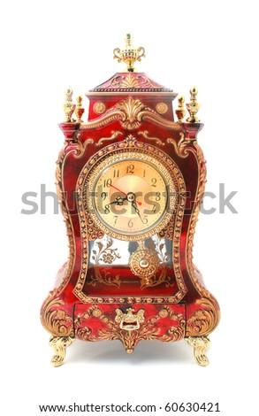 Old fashion antique clock isolated on white - stock photo