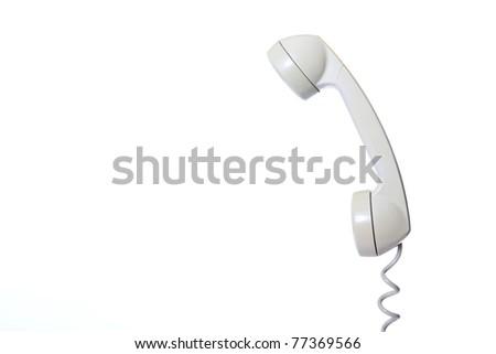 Old fashion phone isolated on white background - stock photo